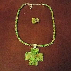 Jay king green stone necklace, pendant and ring